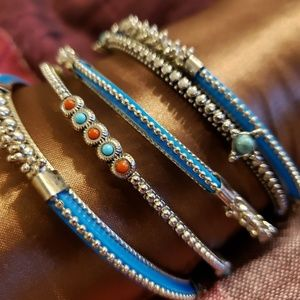 Blue & Silver Bangle Bracelet-set of 5